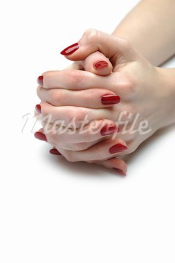 Beautiful hand with perfect nail red manicure Stock Photo - Royalty-Free, Artist: smartfoto                     , Code: 400-05674589