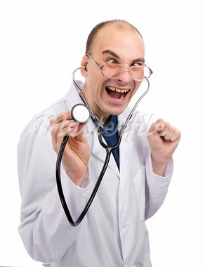 Crazy doctor isolated over white Stock Photo - Royalty-Free, Artist: spaxiax                       , Code: 400-05674900