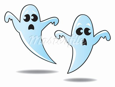 Two funny and cute cartoon ghosts floating in the air. Stock Photo - Royalty-Free, Artist: JSlavy                        , Code: 400-05675148