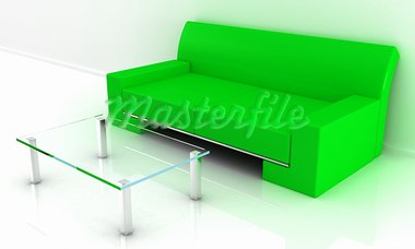 Model of a sofa with a table in a light room Stock Photo - Royalty-Free, Artist: FotoVika                      , Code: 400-05675420