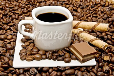 select coffee cup, coffee beans over   Stock Photo - Royalty-Free, Artist: luiscar                       , Code: 400-05676120