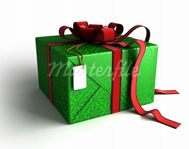 Gift box with red ribbon, wrapping and tag on white background with isolation path included in 3D illustration Stock Photo - Royalty-Free, Artist: 3000ad                        , Code: 400-05676369