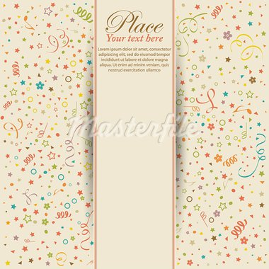 Retro birthday background with streamer and confetti, element for design, vector illustration Stock Photo - Royalty-Free, Artist: TAlex                         , Code: 400-05676739
