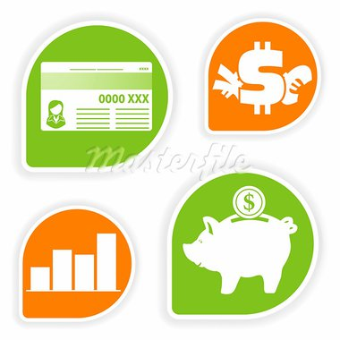 Collect sticker with business and finance icon, element for design, vector illustration Stock Photo - Royalty-Free, Artist: TAlex                         , Code: 400-05676740