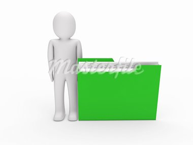3d man file green folder document business Stock Photo - Royalty-Free, Artist: dak                           , Code: 400-05676752