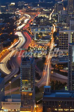 Interstate 85 winds through downtown Atlanta, Georgia, USA. Stock Photo - Royalty-Free, Artist: sepavo                        , Code: 400-05677154