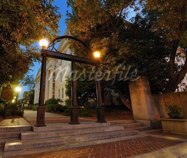 Historic steel archway on the campus of the University of Georgia in Athens, Georgia, USA. Stock Photo - Royalty-Free, Artist: sepavo                        , Code: 400-05677164