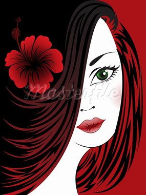 portrait of a beautiful woman with a hibiscus on a black and red Stock Photo - Royalty-Free, Artist: Oksvik                        , Code: 400-05677193
