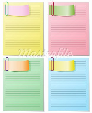 A set of four colored sheets with staples. Each can be used separately, easily editable. Stock Photo - Royalty-Free, Artist: Oksvik                        , Code: 400-05677194
