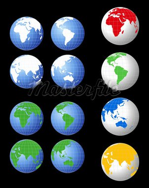 World globe illustrations in various colors Stock Photo - Royalty-Free, Artist: dayzeren                      , Code: 400-05677388