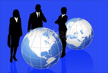 Background illustration with silhouettes and world globes Stock Photo - Royalty-Free, Artist: dayzeren                      , Code: 400-05677404