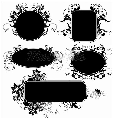 Black floral frames - set Stock Photo - Royalty-Free, Artist: creative4m                    , Code: 400-05677542