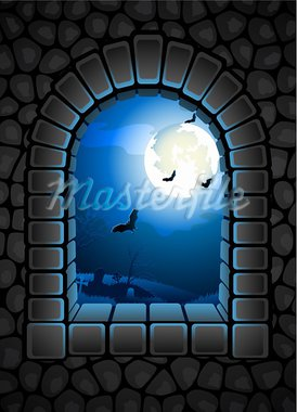 Vector illustration - Halloween background with cemetery Stock Photo - Royalty-Free, Artist: Jut                           , Code: 400-05677557