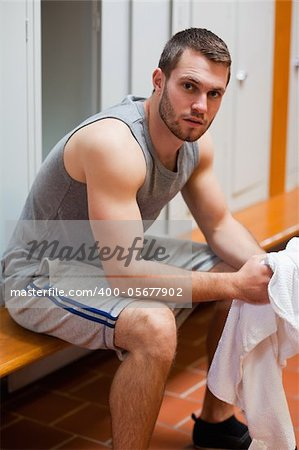Portrait of a sports student with a towel