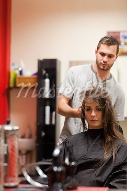 Portrait of a hairdresser blowing hair of a customer Stock Photo - Royalty-Free, Artist: 4774344sean                   , Code: 400-05677946