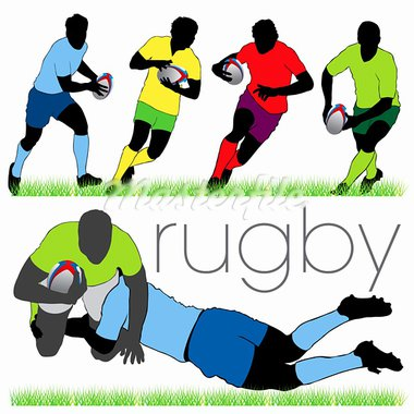 Rugby players silhouettes set Stock Photo - Royalty-Free, Artist: kaludov                       , Code: 400-05678344
