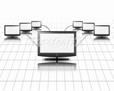 One flat panel connects to other Stock Photo - Royalty-Free, Artist: rolffimages                   , Code: 400-05678490