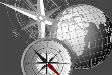 Abstract background with a compass and world globe Stock Photo - Royalty-Free, Artist: dayzeren                      , Code: 400-05678590