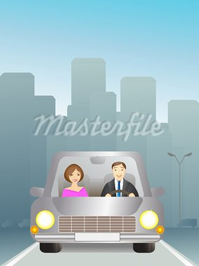 Cute man and woman in car on the road Stock Photo - Royalty-Free, Artist: keltt                         , Code: 400-05678623