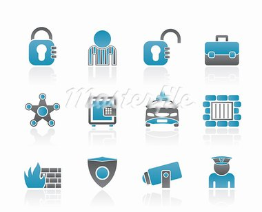 social security and police icons - vector icon set Stock Photo - Royalty-Free, Artist: stoyanh                       , Code: 400-05679242