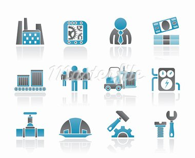 Business, factory and mill icons - vector icon set Stock Photo - Royalty-Free, Artist: stoyanh                       , Code: 400-05679273