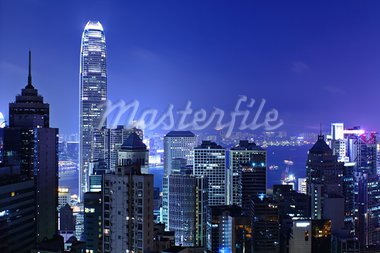 Hong kong at night Stock Photo - Royalty-Free, Artist: leungchopan                   , Code: 400-05679444