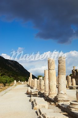 Pillars and collumns next to the main road in the old ruins of the city of Ephesus in modern day Turkey Stock Photo - Royalty-Free, Artist: Forgiss                       , Code: 400-05679536