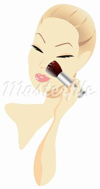 Woman applying make-up isolated on white background Stock Photo - Royalty-Free, Artist: dayzeren                      , Code: 400-05679570