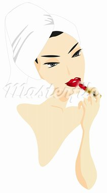 Woman applying make-up isolated on white background Stock Photo - Royalty-Free, Artist: dayzeren                      , Code: 400-05679607