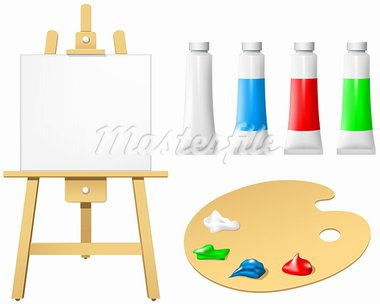 Easel with blank board and palette Stock Photo - Royalty-Free, Artist: lazarev                       , Code: 400-05679677
