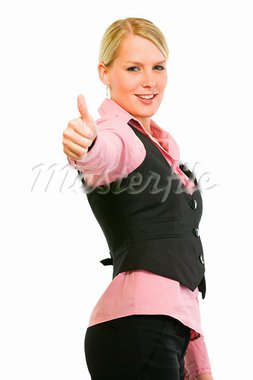 Smiling business woman showing thumbs up gesture isolated on white  Stock Photo - Royalty-Free, Artist: citalliance                   , Code: 400-05679850