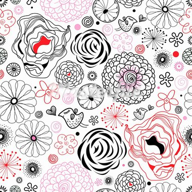 seamless floral pattern graphic on a white background with birds Stock Photo - Royalty-Free, Artist: tanor                         , Code: 400-05679996