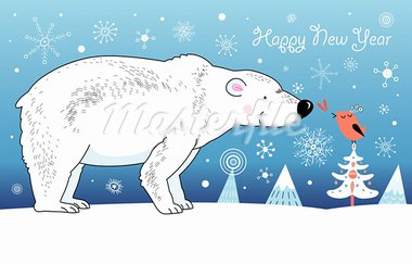 Christmas card with a white bear and bird graphic on a blue background with snowflakes Stock Photo - Royalty-Free, Artist: tanor                         , Code: 400-05680684