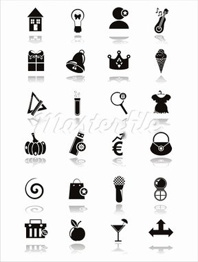 set of 21 black web icons Stock Photo - Royalty-Free, Artist: LxIsabelle                    , Code: 400-05680692