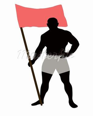 The Athlete keeps the flag, on white background. The Vector. Stock Photo - Royalty-Free, Artist: aleksandrberkan               , Code: 400-05680698