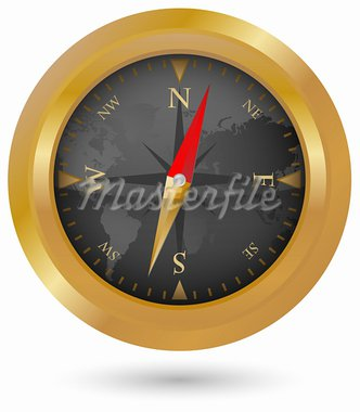 Illustration of Golden Compass Icon With World Map Stock Photo - Royalty-Free, Artist: jamdesign                     , Code: 400-05680722