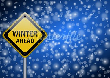 winter ahead traffic sign on snowing background Stock Photo - Royalty-Free, Artist: alexwhite                     , Code: 400-05680807