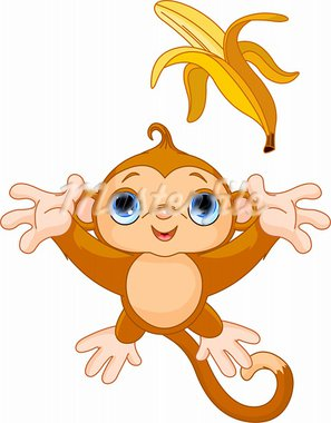 Illustration of funny Monkey trying to catch banana Stock Photo - Royalty-Free, Artist: Dazdraperma                   , Code: 400-05680838