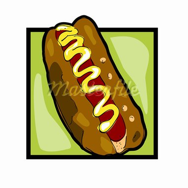 Classic clip art graphic icon with hot dog Stock Photo - Royalty-Free, Artist: catacos                       , Code: 400-05680892