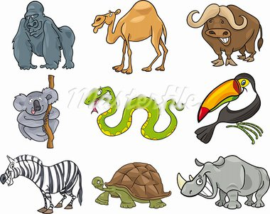 cartoon illustration of nine funny wild animals Stock Photo - Royalty-Free, Artist: izakowski                     , Code: 400-05682162