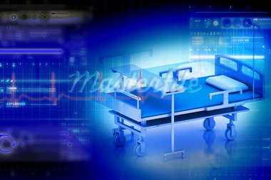 Digital illustration of medical bed in abstract color background Stock Photo - Royalty-Free, Artist: rbhavana                      , Code: 400-05682830