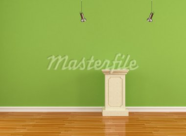 green  museum with empty pedestal - rendering Stock Photo - Royalty-Free, Artist: archidea                      , Code: 400-05682848