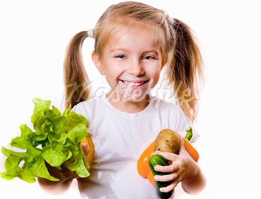 Little girl with the vegetables  - healthy food concept Stock Photo - Royalty-Free, Artist: tan4ikk                       , Code: 400-05682851