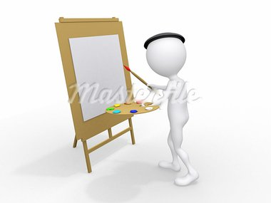 3d man painting on canvas Stock Photo - Royalty-Free, Artist: dacasdo                       , Code: 400-05683027