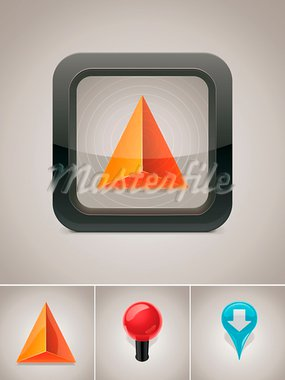 Detailed square icon representing GPS navigator pointer in black box Stock Photo - Royalty-Free, Artist: tele52                        , Code: 400-05683072