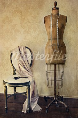 Antique dress form and chair with vintage feeling Stock Photo - Royalty-Free, Artist: Sandralise                    , Code: 400-05683267