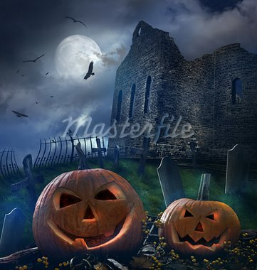 Pumpkins in graveyard with church ruins Stock Photo - Royalty-Free, Artist: Sandralise                    , Code: 400-05683275