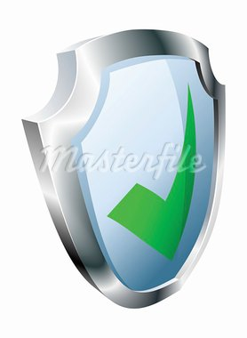 Tick shield security concept. Shield with green tick icon. Stock Photo - Royalty-Free, Artist: Krisdog                       , Code: 400-05683978