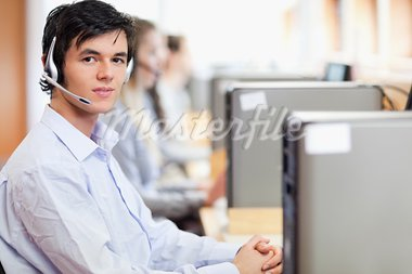 Operators using a computer in a call center Stock Photo - Royalty-Free, Artist: 4774344sean                   , Code: 400-05684143