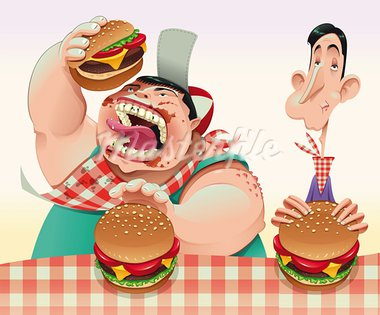 Guys with hamburgers. Cartoon and vector illustration. Stock Photo - Royalty-Free, Artist: ddraw                         , Code: 400-05684253